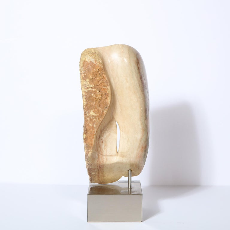 Modernist Abstract Figurative Sculpture in Exotic Marble by Lorraine Stimmel For Sale 3