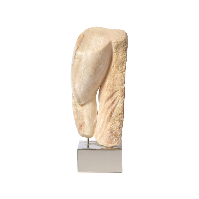 Modernist Abstract Figurative Sculpture in Exotic Marble by Lorraine Stimmel For Sale