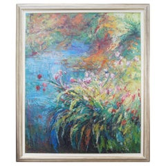 Modernist Abstract Floral Landscape Painting Signed Oil Canvas Impressionism