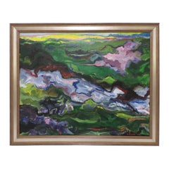 Modernist Abstract Landscape in the Fauvist Style, Signed and Dated 1974
