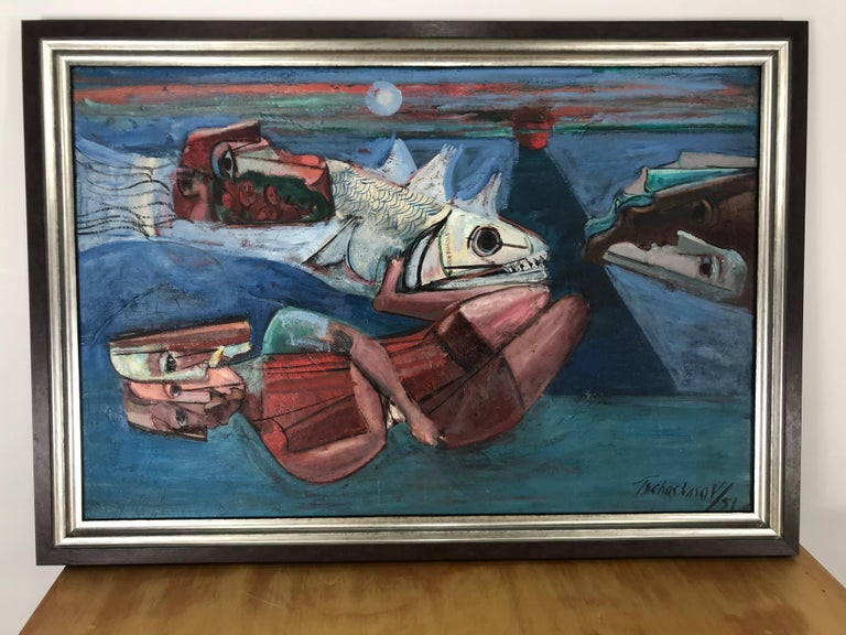 Oil on canvas painting by the well-known Russian/American artist, Nahum Tschacbasov. Signed bottom right and dated 1951. This work by the artist shows the early influence of Georges Rouault, his first teacher in Paris.  Nahum Tschacbasov's career