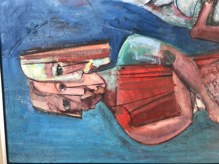 Mid-Century Modern Modernist Abstract Oil on Canvas by Nahum Tschacbasov, 1951 For Sale