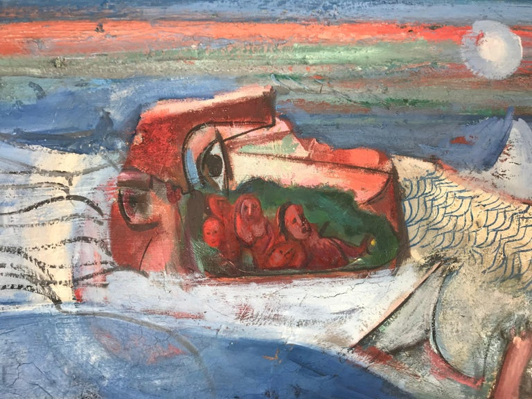 American Modernist Abstract Oil on Canvas by Nahum Tschacbasov, 1951 For Sale
