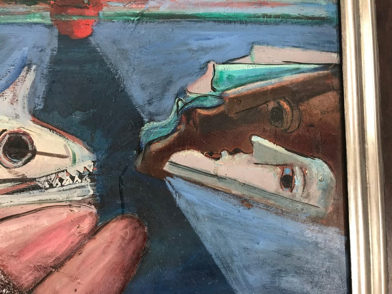 Modernist Abstract Oil on Canvas by Nahum Tschacbasov, 1951 In Excellent Condition For Sale In Buffalo, NY