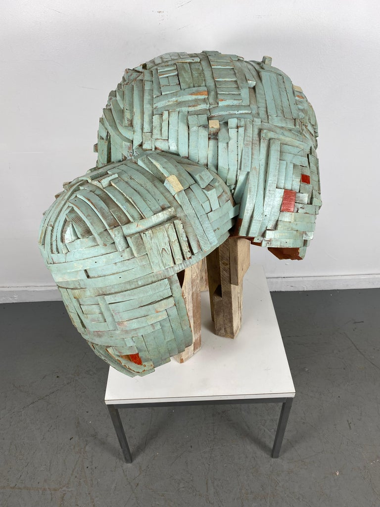 Mid-Century Modern Modernist Abstract Stacked Wood and Painted Sculpture