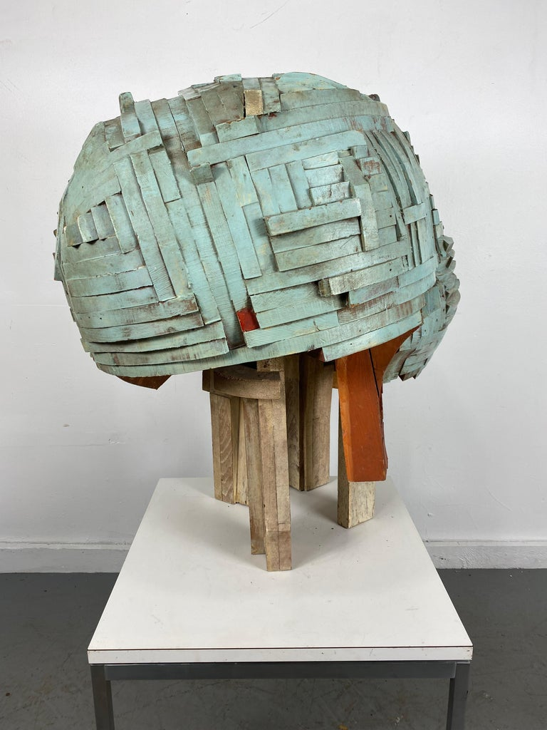 Hand-Crafted Modernist Abstract Stacked Wood and Painted Sculpture