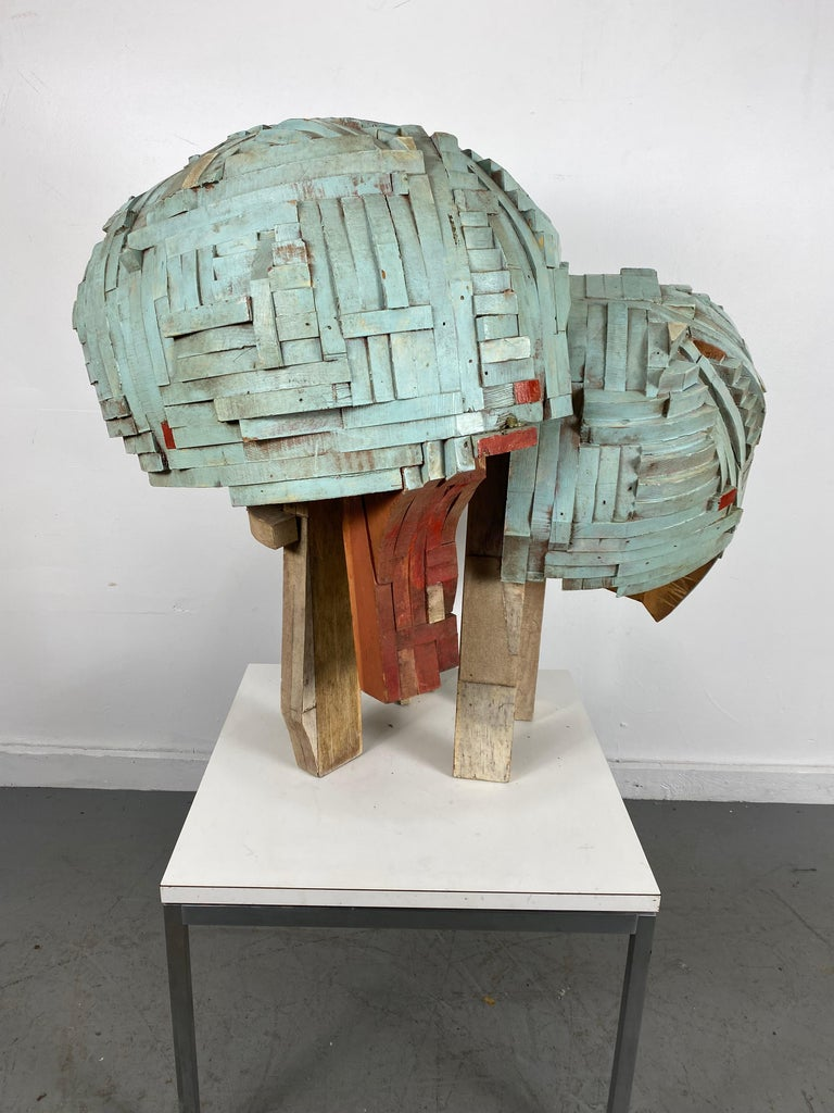 Mid-20th Century Modernist Abstract Stacked Wood and Painted Sculpture