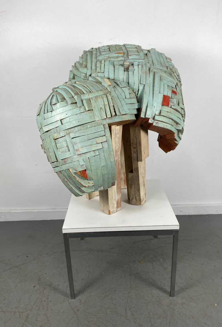 Modernist Abstract Stacked Wood and Painted Sculpture
