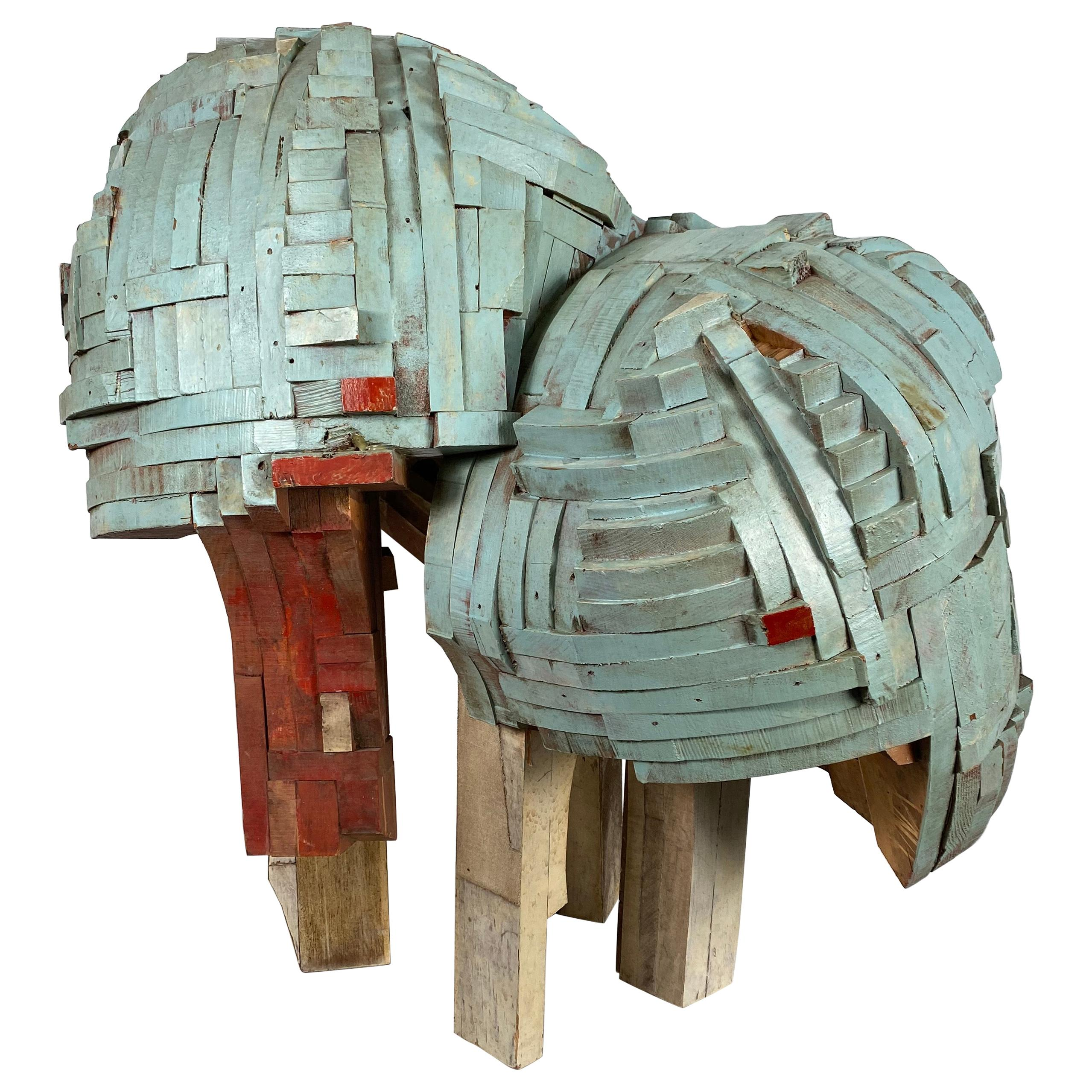 """Modernist Abstract Stacked Wood and Painted Sculpture """"Bug"""" by Robert Brock"""