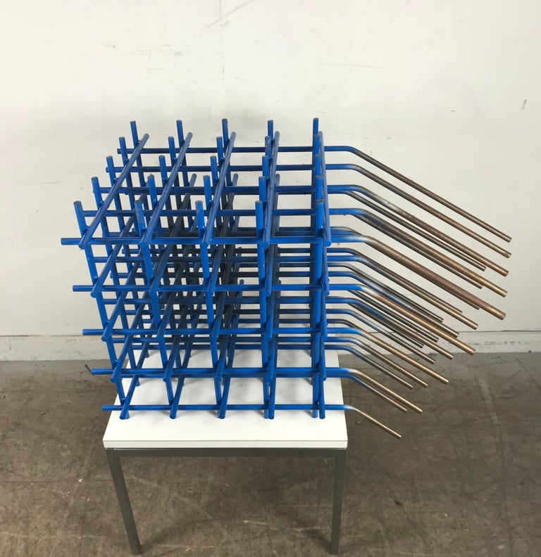 Painted Modernist Abstract Welded Steel Sculpture