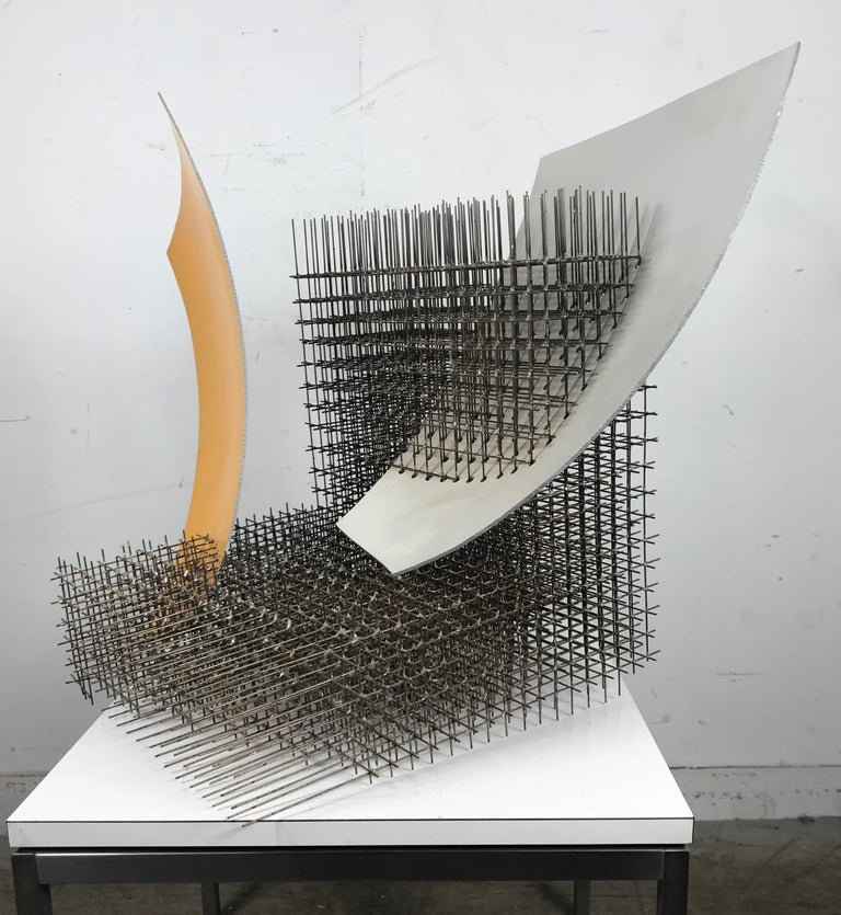 Modernist abstract welded steel sculpture