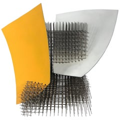 "Modernist Abstract Welded Steel Sculpture ""Yellow White"" by Robert Brock"