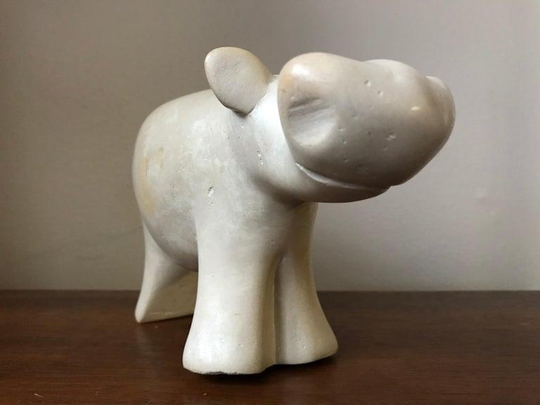 Modernist Alabaster Carved Hippopotamus Sculpture Figurine For Sale 6