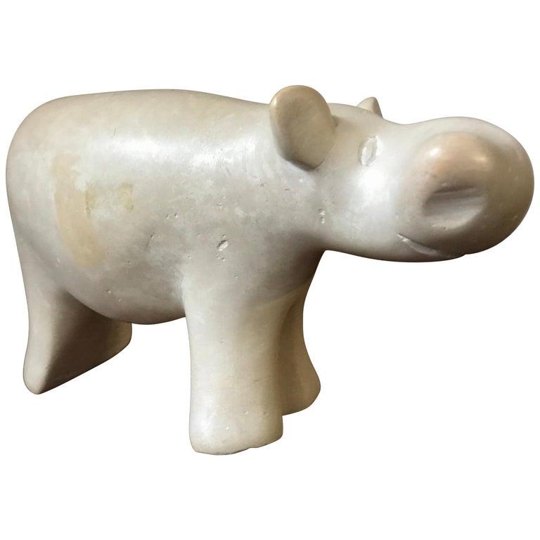 Modernist Alabaster Carved Hippopotamus Sculpture Figurine For Sale