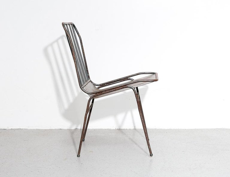 Modernist All-Steel Chair In Fair Condition For Sale In Brooklyn, NY