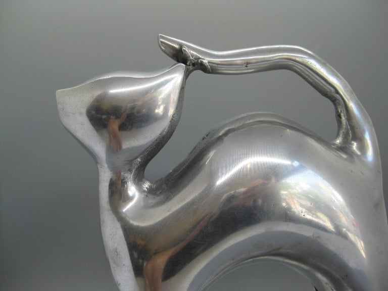 Modernist Aluminum Cat Abstract Figural Sculpture For Sale 6