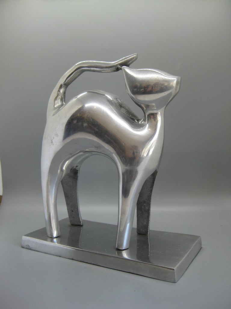 Modernist Aluminum Cat Abstract Figural Sculpture For Sale 1