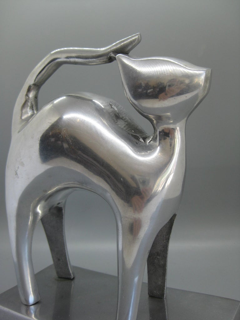 Modernist Aluminum Cat Abstract Figural Sculpture For Sale 2