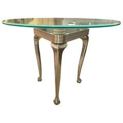 Modernist Aluminum Center Table with Chippendale Base & Round Frosted Glass Top