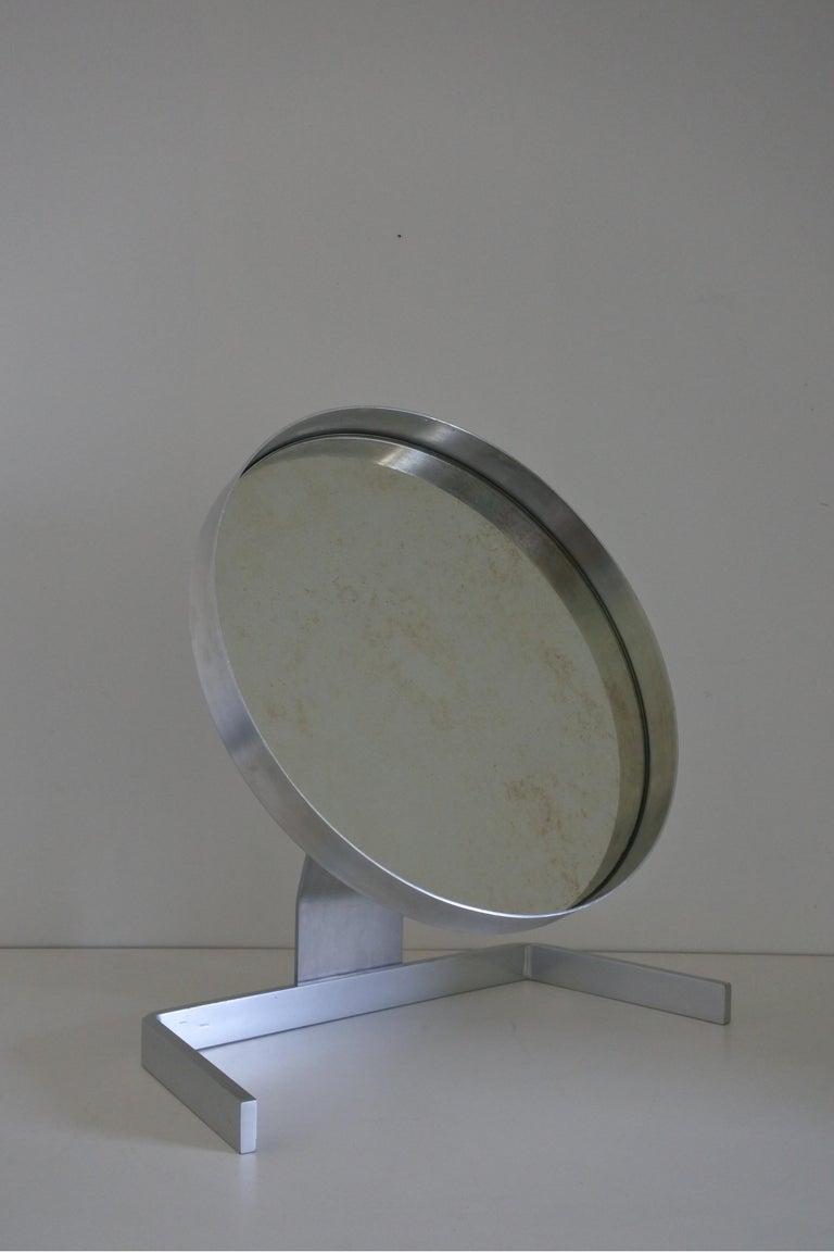 Modernist Aluminum Vanity or Table Mirror by Pierre Vandel, France 1970s For Sale 4