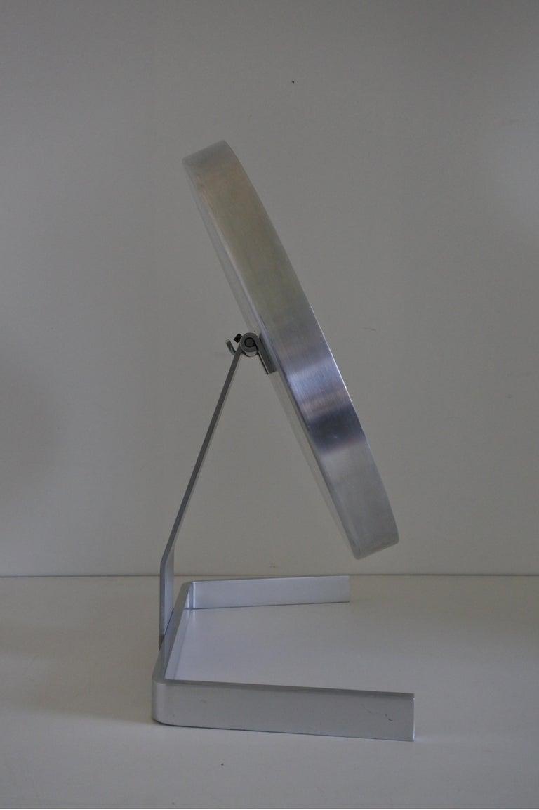 Modernist Aluminum Vanity or Table Mirror by Pierre Vandel, France 1970s For Sale 9