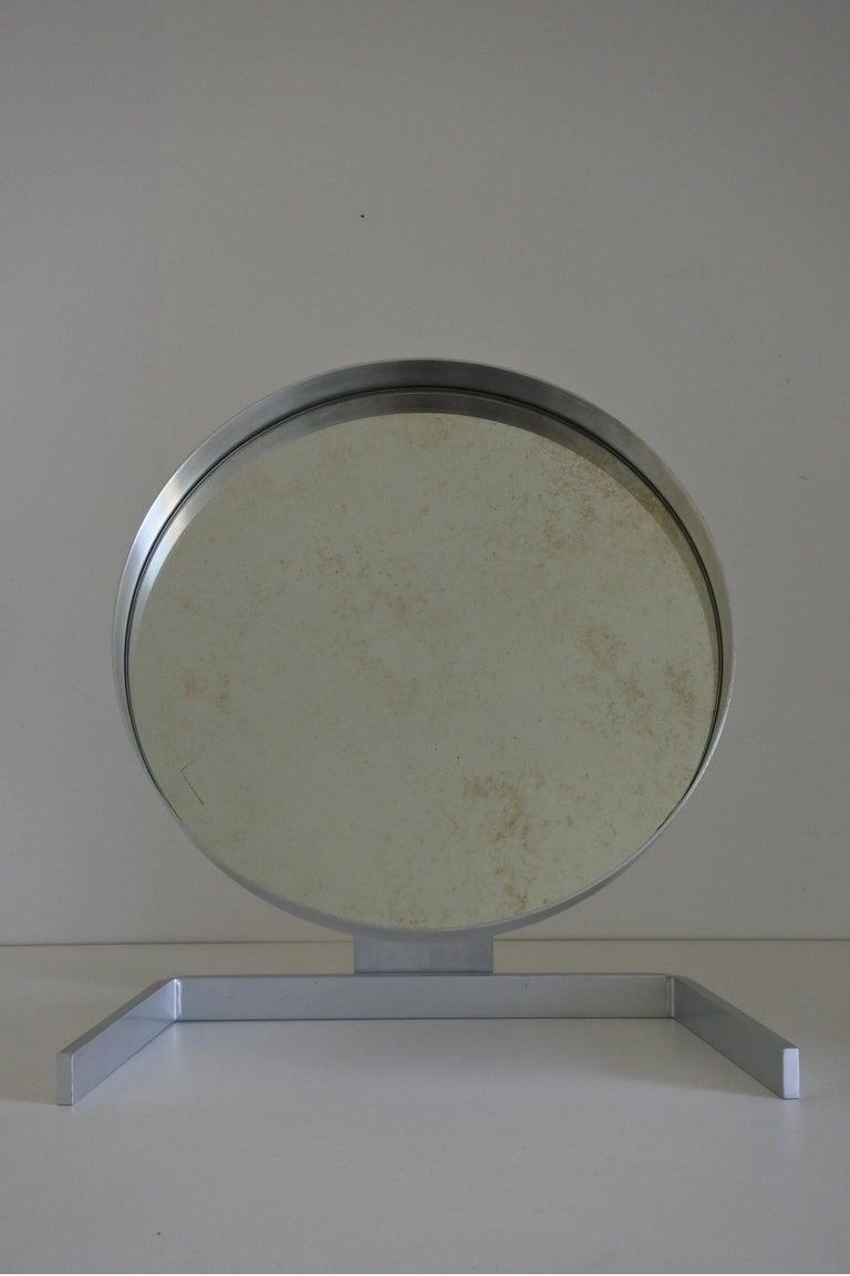 Modernist Aluminum Vanity or Table Mirror by Pierre Vandel, France 1970s For Sale 3