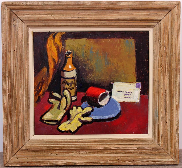 Colorful and bold oil painting with heavy impasto. Oil on panel. Still life by Henri Gaudriot. Dated 1944. In period oak frame. Exhibited Rochester, New York finger lakes show, 1944.
