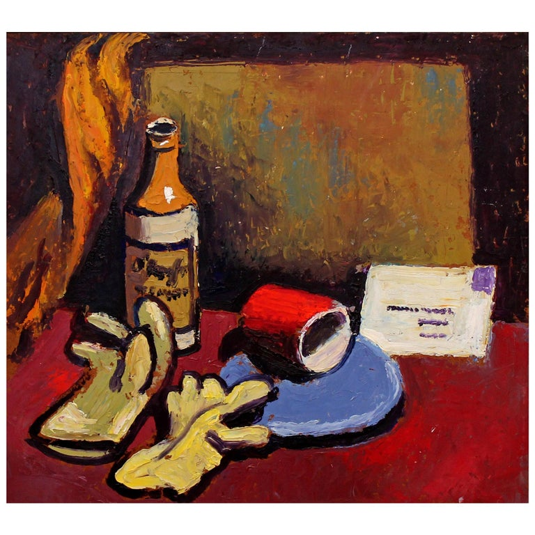 Modernist American Still Life Oil Painting For Sale