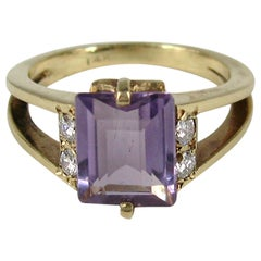 Modernist Amethyst Diamond Ring 14 Karat
