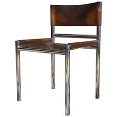 Modernist and Minimalistic Vintage Chair in Leather and Chrome Manner of Bauhaus