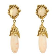 Modernist Angel Skin Coral Yellow Gold Dangle Earrings