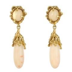 Modernist Angel Skin Coral Yellow Gold Dangle Earrings
