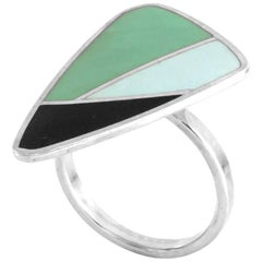 Modernist Anne Leger Enamel Silver Ring