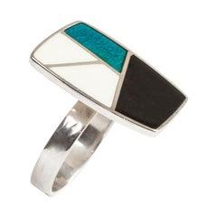 Modernist Anne Leger Enamel Silver Ring
