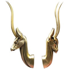 Modernist Anodized Aluminum Gazelle Wall Sculpture Pair by Pendergast