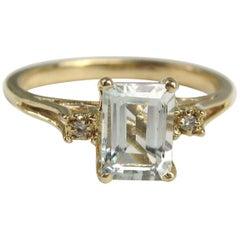 Modernist Aquamarine Diamond Ring 14 Karat