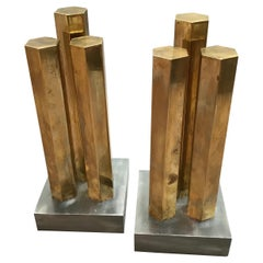 Modernist Architectural Brass and Steel Andirons