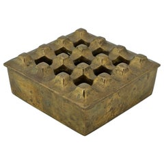 Modernist Architectural Brass Table Cigar Box Ashtray Cabinmodern Egg Crate