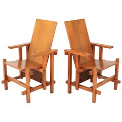 Modernist Armchairs Attributed to Gerrit Rietveld