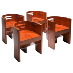 Modernist Armchairs in Mahogany, Austria, 1930s