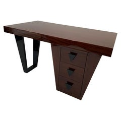 Modernist Art Deco Partners Desk by Fox Modern in Mahogany