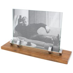 Modernist Art Deco Picture Photo Frame Zebra Wood and Chrome