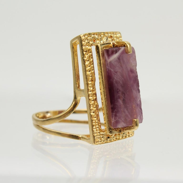 Women's Modernist Asymmetrical 18k Gold and Rough Cut Amethyst Gemstone Cocktail Ring For Sale