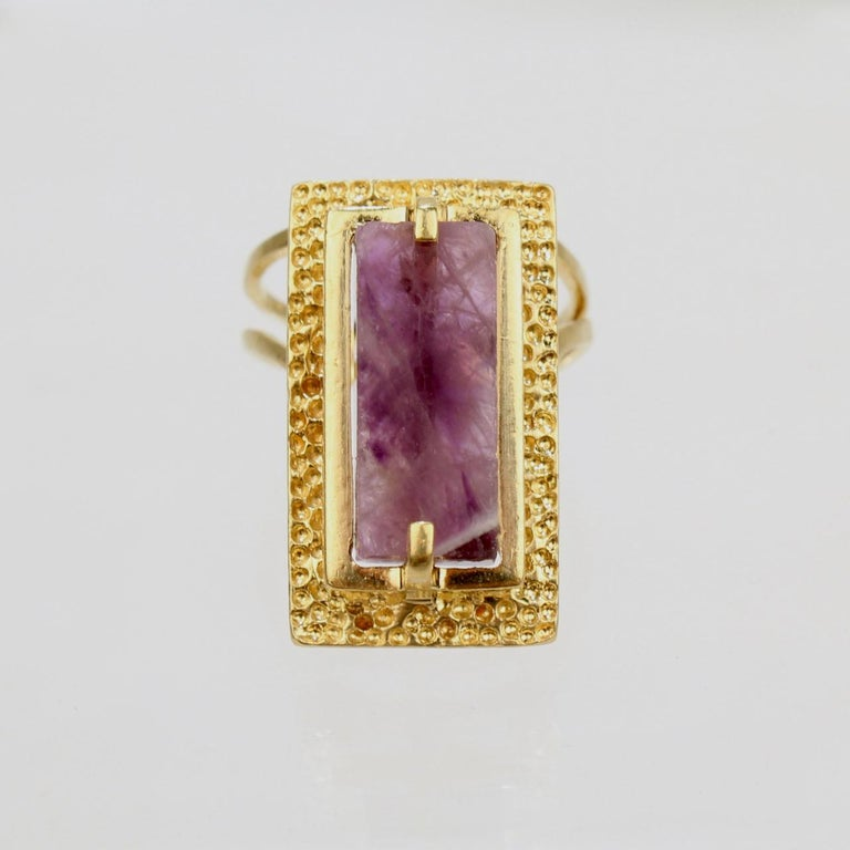 Modernist Asymmetrical 18k Gold and Rough Cut Amethyst Gemstone Cocktail Ring For Sale 5