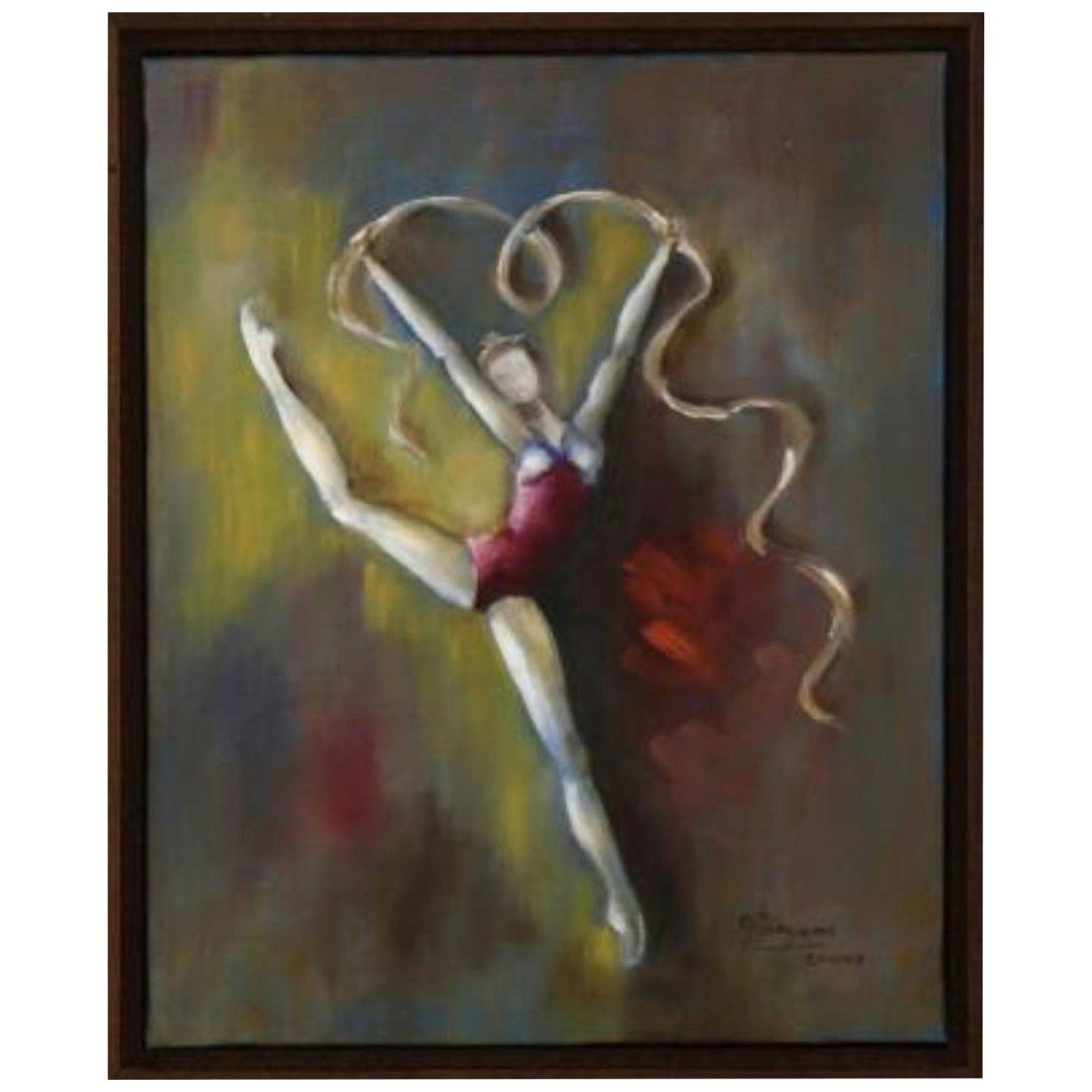 "Modernist Ballerina Oil on Canvas ""Bailarina"" by Olga Pargana Dated 2002, Signed"
