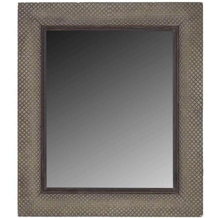 North American Modernist Basketweave Style Mirror For Sale