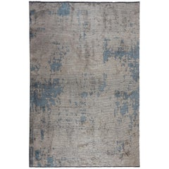 Modernist Beige Gray Light Blue Abstract Fade Pattern Luxury Soft Semi-Plush Rug