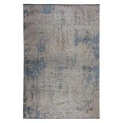 Modernist Beige Gray Light Blue Abstract Fade Pattern Luxury Soft Semi-Plush Rug