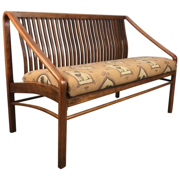 Modernist Bent Oak Settee or 2 seat sofa after Edward