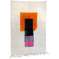 Modernist Abstract Hand-Knotted Berber Rug or Wall Hanging